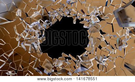 Shattered Glass: Sharp Pieces And Hole On Black