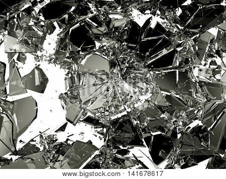 Shattered Or Broken Glass Pieces On White