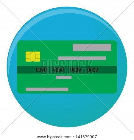 Credit card icon flat. Credit card isolated for shopping with money vector illustration