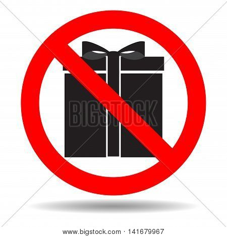 Ban gift icon. Prohibited and banned surprise vector illustration