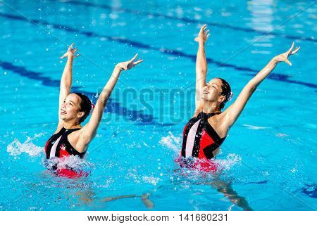 Synchronized Swimming event, color image, horizontal image