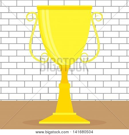 Golden cup or goblet. Bowl and gold goblet medieval goblet trophy business or sport win. Vector illustration