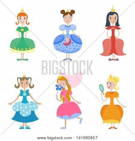 Set of princess. Vector child illustration. Cartoon style. Fairy tale heroes for girls