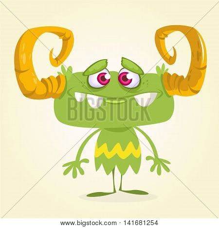 Cute green monster. Vector Halloween horned monster character mascot