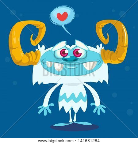 Happy cartoon bigfoot in love. Halloween vector yeti character with white fur and horns isolated on blue background
