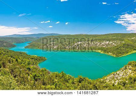 Visovac lake in Krka national park Dalmatia Croatia