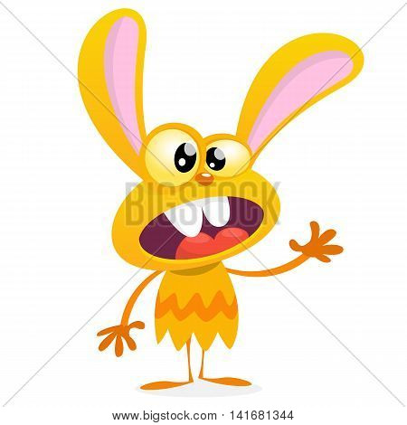 Cute yellow monster rabbit. Halloween vector bunny monster with big ears waving. Isolated on white