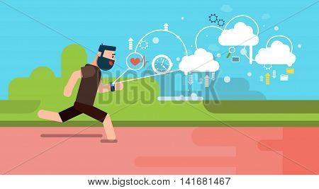 Man Run Fitness App Tracker Wearable Technologies Smart Watch Flat Vector Illustration