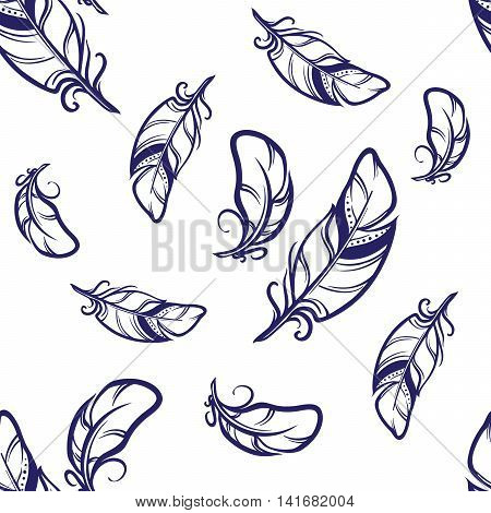 Hand drawn sketch style seamless pattern. White feathers with dark blue outlines on white background. Irregular distribution of elements. EPS10 vector illustration.