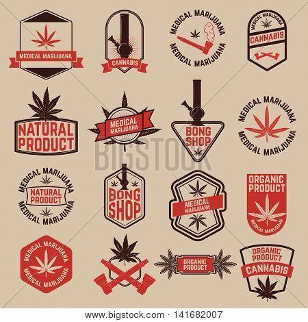 Set of cannabis labels. Medical marijuana bong shop. Design elements for logo label emblem sign brand mark. Vector illustration.
