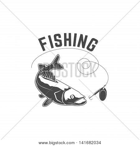 Fishing. Silhouette of pike-perch which lacks trolling. Design element for logo label emblem sign. Vector illustration.