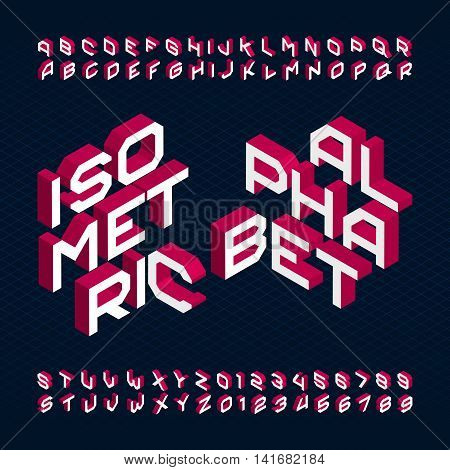 3D isometric alphabet font. Type letters and numbers. Three-Dimensional stock vector typeface for your design.