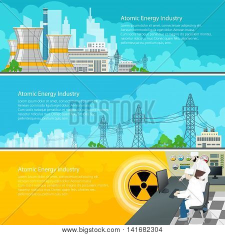 Nuclear Power Plant Horizontal Banners with Text, Nuclear Reactor and Power Lines, Nuclear Station Supplies Electricity to the City, People Near the Control Panel on a Thermal Power Station, Vector