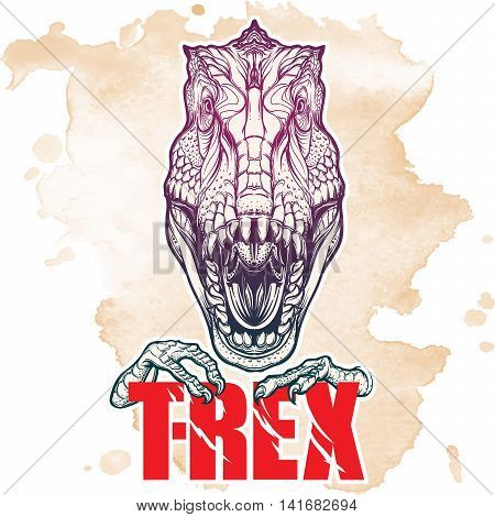 Detailed sketch style drawing of the roaring tirannosaurus rex head. Beast holding T-Rex sign in its claws. Grunge background. EPS10 vector illustration.