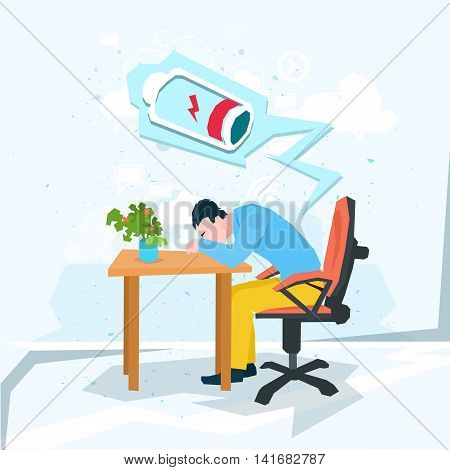 Tired Business Man Work Laptop Computer Low Battery Flat Vector Illustration