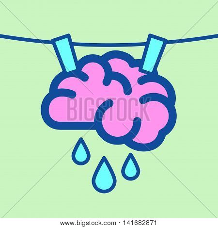 Vector stock of a brain hanging on laundry line