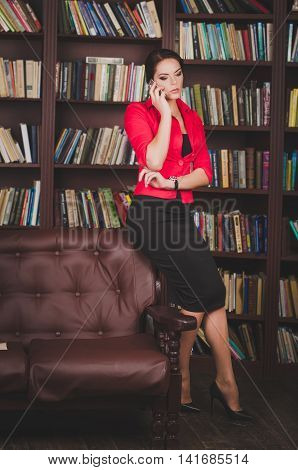 Attractive, Concentrated, Serious Business Woman In A Business S