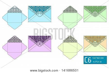 Vector Illustration of Envelope Die cut Mock up for Design, Website, Background, Banner. Blueprint texture for Gift Pack. Wedding Invitation Element Template. purple, Violet, green, blue, yellow