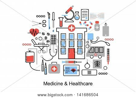 Modern flat thin line design vector illustration concept of medicine and healthcare first aid medical equipment and medicament cure for graphic and web design