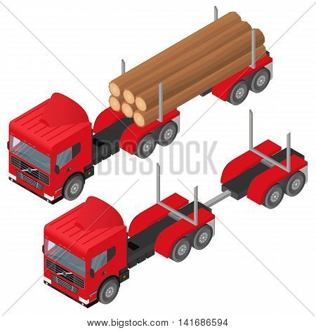 Logging truck in isometric. A bunch of logs in the body of the red vehicle. The industry of construction. Deforestation. Forest cutting. Cargo transport. Vector illustration.