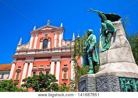Presern square of Ljubljana landmarks view capital of Slovenia