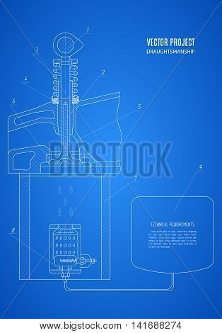 fragment blueprint project technical drawing on the blue background. stock vector illustration eps10
