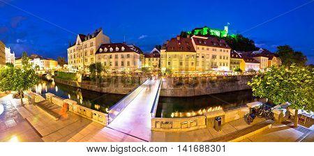 Evening panorama of Ljubljana river architecture and castle capital of Slovenia