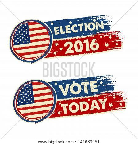USA election 2016 and vote today with american flag, text drawn banners, political concept, vector