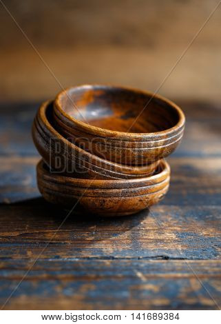 Stack of old wooden bowls