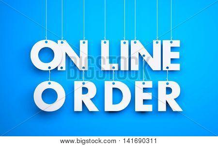 Online Order - word hanging on orange background. 3d illustration