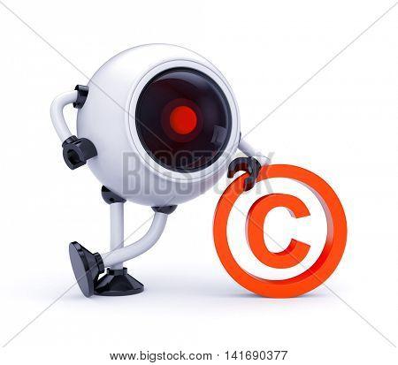 Copyright under the supervision. 3d illustration
