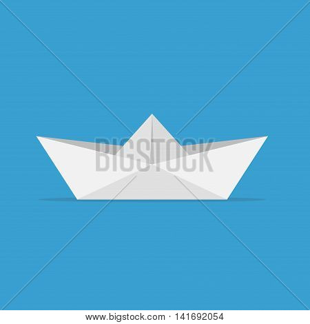 Paper boats ship origami toy and paper ship vessel transport. Ocean navy freedom yacht paper ship in flat style on blue background.