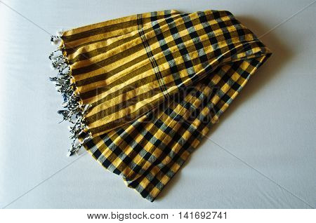 Striped loincloth fabric, Thailand style cloth on table