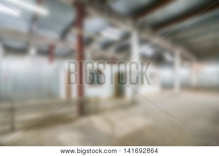 Inside industrial complex production facility theme creative abstract blur background with bokeh effect