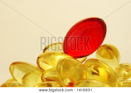 Heap Of The Vitamin Capsules.