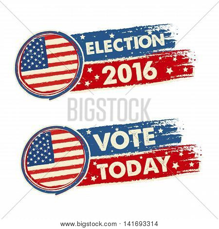 USA election 2016 and vote today with american flag text drawn banners political concept