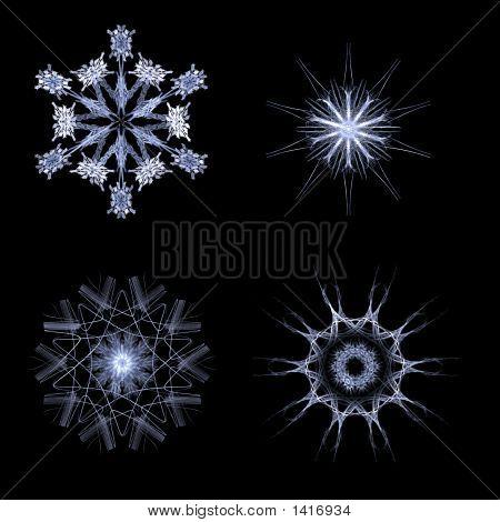 Fractal Snow Flakes On Black Background