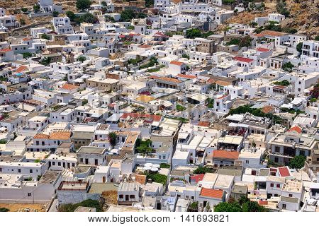 Traditional greek white houses in Lindos. Rhodes Dodecanese Islands Greece Europe