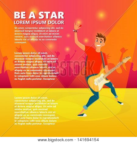 Cartoon electric guitar player. Teenage guitarist shows hand up. Vector illustration of young person holding guitar.