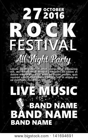 Black and white Vintage Rock festival design template with crowd on back and place for text. Rock poster background