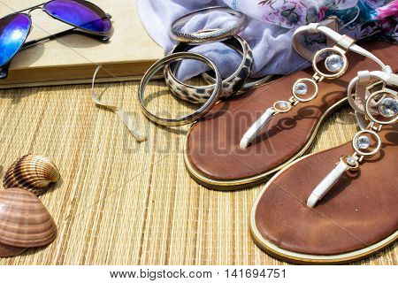 Beach accessories-sun glasses flip flops book and sea shell