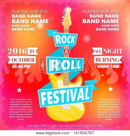 Vintage poster of Rock and roll festival. Hot burning rock party. Cartoon Design element for poster, flyer, emblem, logo, sign. Vector design element