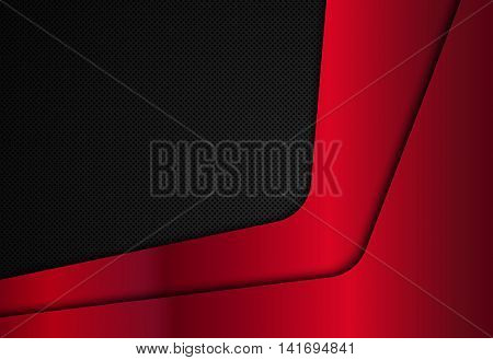 Red metal plate on a black metal texture, Vector illustration