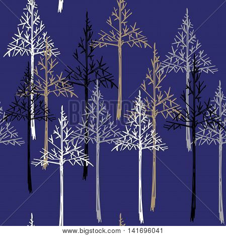 Christmas pattern. Simple seamless Happy New Year background. Vector design for winter holidays on dark blue background. EPS10