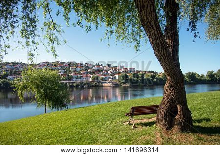View to Arrepiado town and Tagus river from the north shore in Tancos town, Portugal
