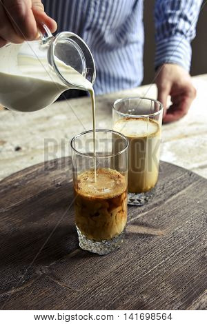 Coffee In A Glass. The Cream In The Jar. Hands