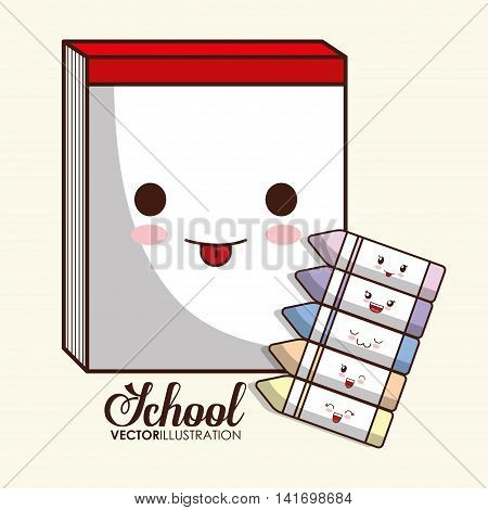 School design represented by kawaii book and crayon icon. Colorfull and isolated illustration.