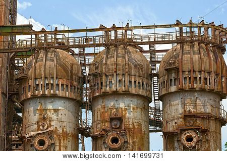 Background with old steel furnace from Resita city Romania.