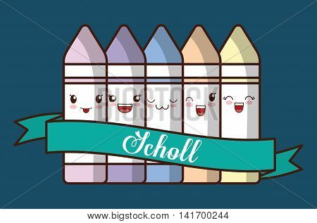 School design represented by kawaii crayon icon. Colorfull and blue background.