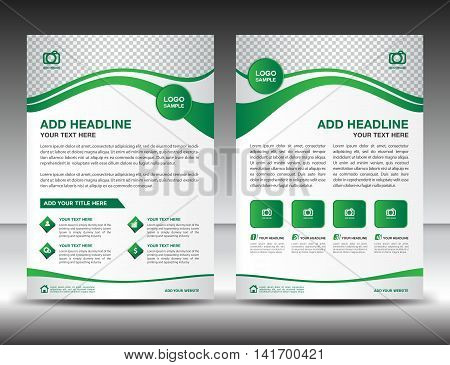 Green business brochure flyer design layout template in A4 size, newsletter, leaflet, poster. vector. cover. annual report. magazine ads. catalog